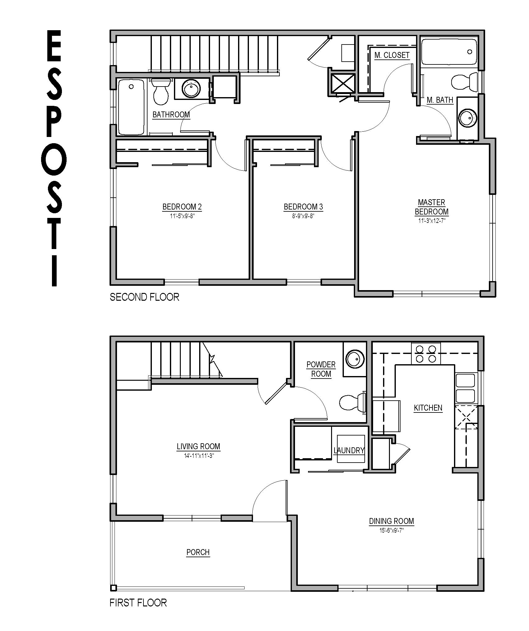 3 bedroom townhouse floor plan