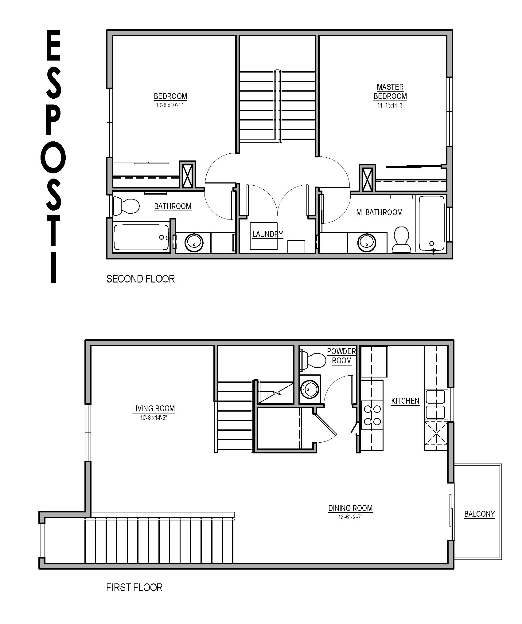 2 bedroom Townhouse Floorplan