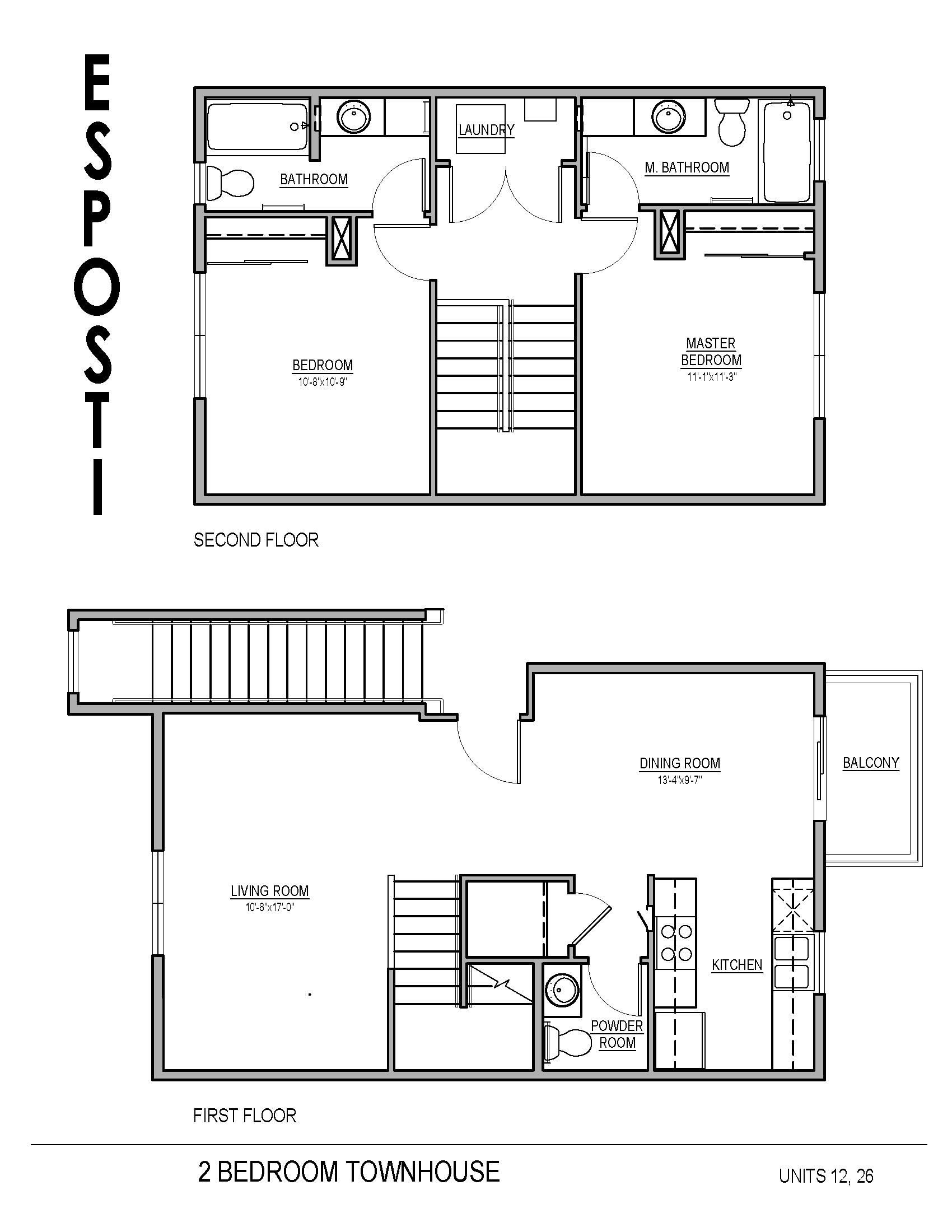 2 Bed 2.5 Bath Townhouse Floor Plan
